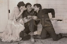 Joan with Ernest Torrence (left) and Ramon Novarro.