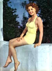 A 1952 cheesecake shot of Joan's goddaughter Joan Evans, the year after she married Kirby Weatherly.